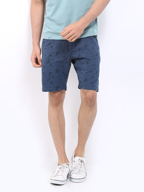 Jack & Jones Men Blue Printed Slim Fit Shorts  available at myntra for Rs.847