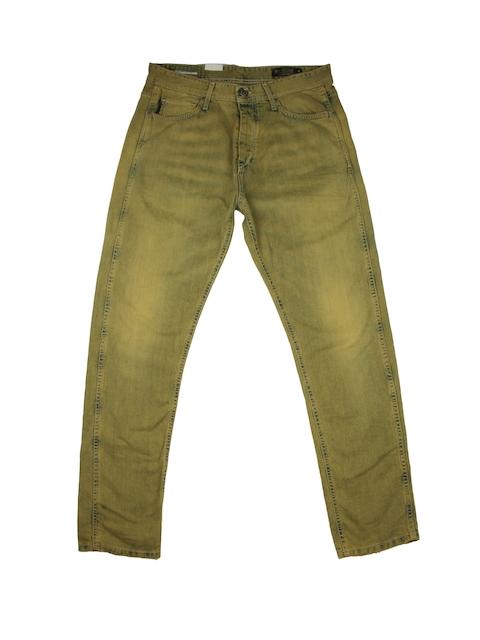 Jack & Jones Men Green Erik Anti Fit Jeans