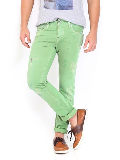 Jack & Jones Men Green Tim Slim Fit Jeans