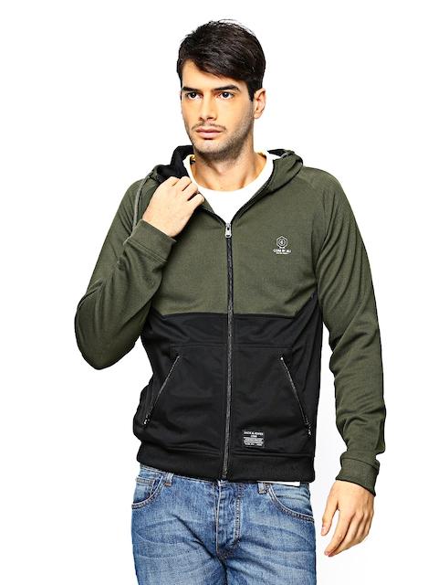 Jack & Jones Men Olive Green & Black Hooded Sweatshirt