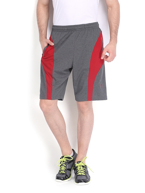Jockey Men Grey Melange & Maroon Shorts 9411-0103