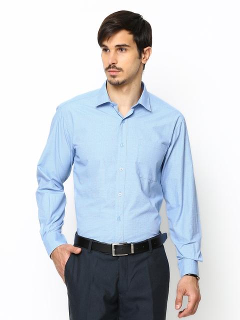 John Players Men Blue Checked Formal Shirt