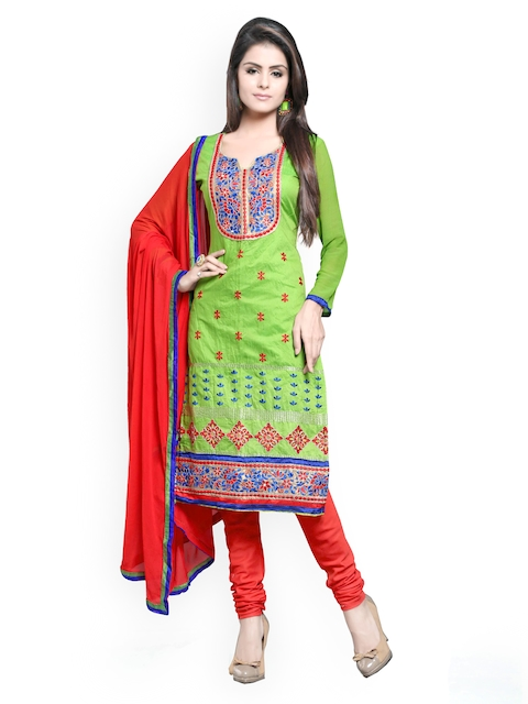 Khushali Green & Red Chanderi Unstitched Dress Material
