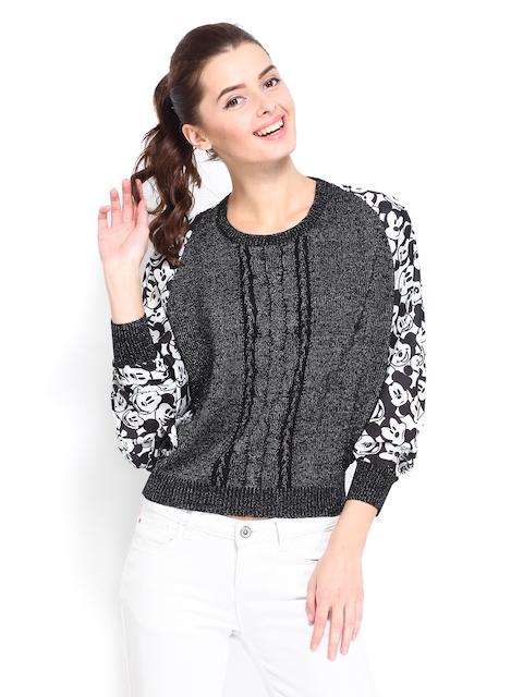 Kook N Keech Disney Women Black Printed Sweater