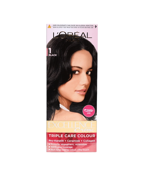 LOreal Paris Excellence Creme Black Triple Care Hair Colour 1  available at myntra for Rs.299