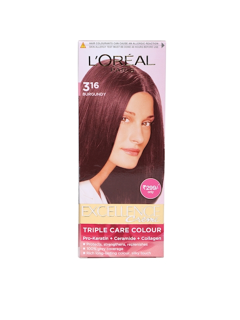 LOreal Paris Excellence Creme Burgundy Triple Care Hair Colour 3.16  available at myntra for Rs.254