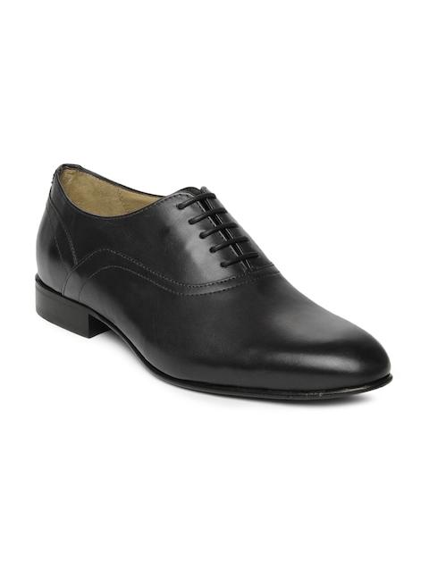 Language Men Black Leather Formal Shoes
