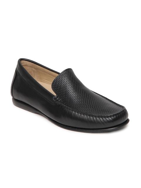 Language Men Black Leather Semi-Formal Shoes