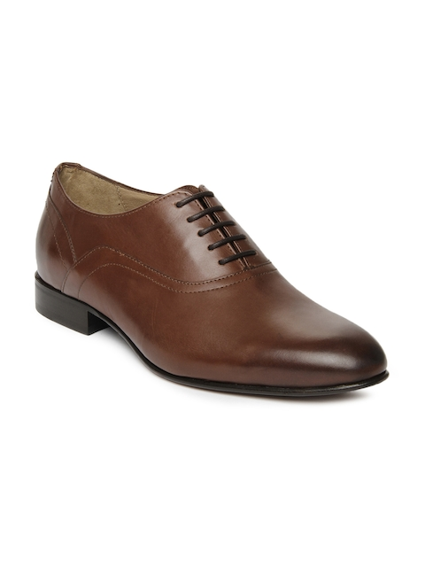 Language Men Brown Leather Formal Shoes