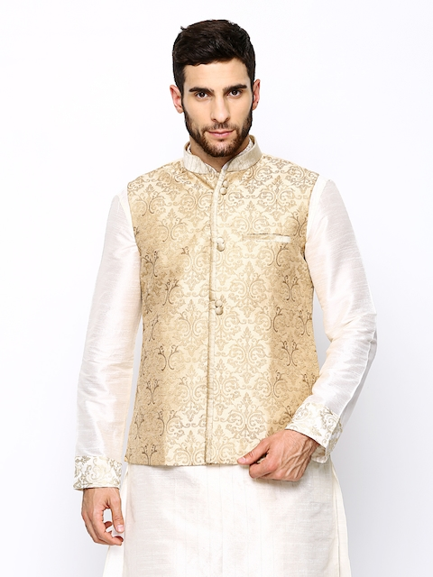 Manyavar Beige Embroidered Nehru Jacket  available at myntra for Rs.2999