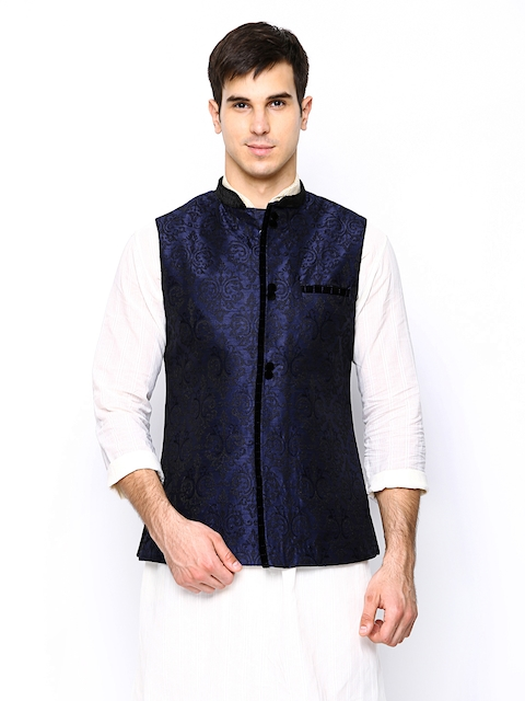 Manyavar Blue Embroidered Comfort Fit Nehru Jacket  available at myntra for Rs.2999