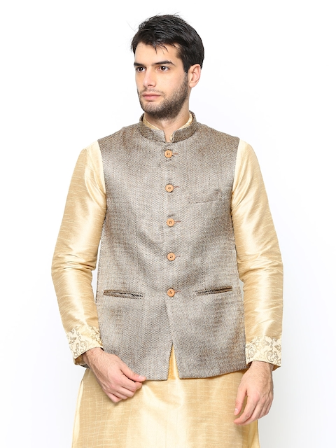 Manyavar Men Brown Nehru Jacket