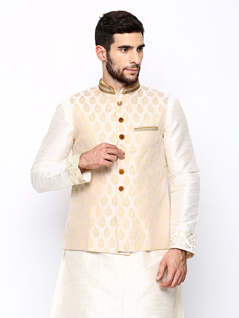 Manyavar Cream-Coloured Embroidered Nehru Jacket  available at myntra for Rs.2999