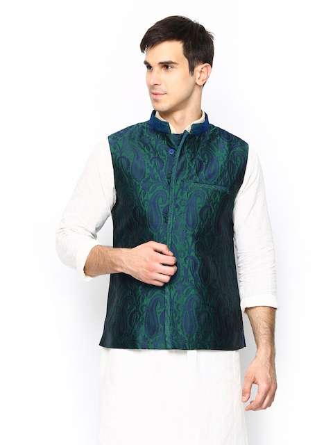 Manyavar Men Green & Blue Nehru Jacket with Woven Pattern  available at myntra for Rs.3999