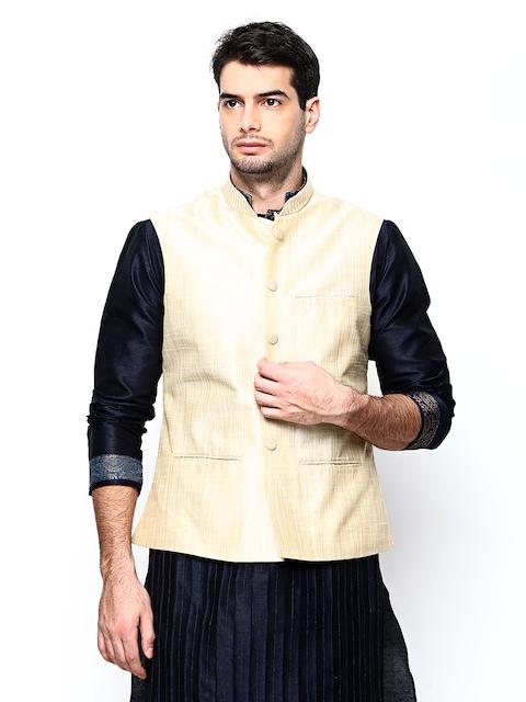 Manyavar Beige Comfort Fit Nehru Jacket  available at myntra for Rs.2999