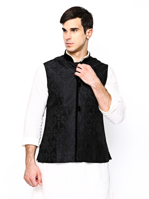 Manyavar Black Embroidered Nehru Jacket  available at myntra for Rs.2999