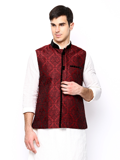 Manyavar Maroon Embroidered Nehru Jacket  available at myntra for Rs.2999