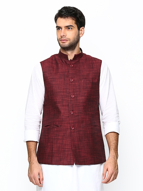 Manyavar Maroon Nehru Jacket  available at myntra for Rs.2999