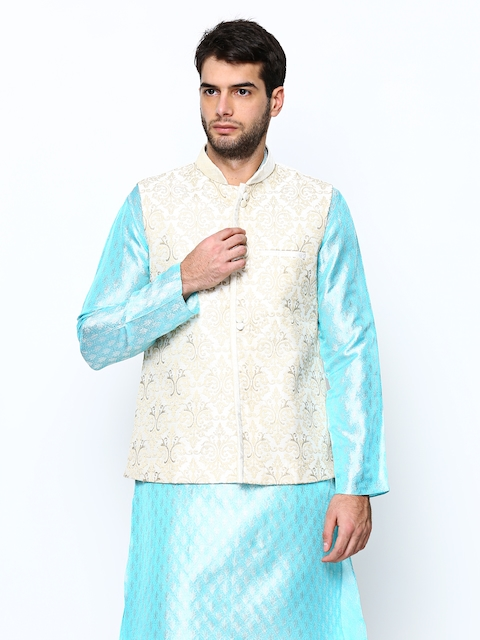 Manyavar Men Off-White Nehru Jacket  available at myntra for Rs.2999