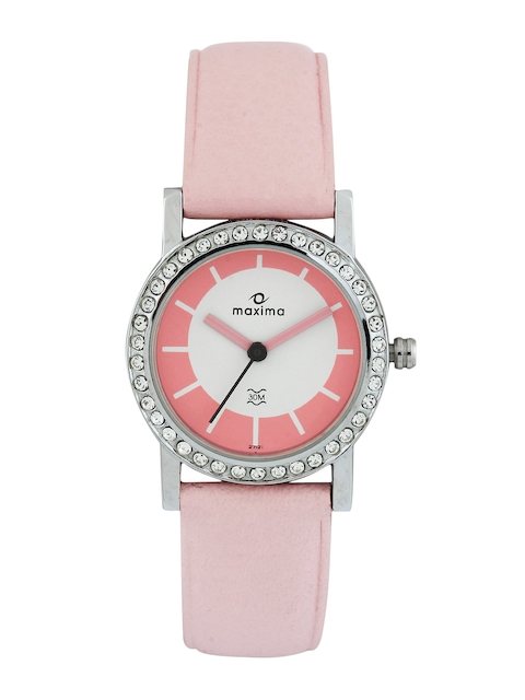 Maxima Women White & Pink Dial Watch