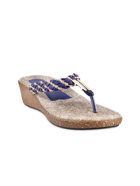 Mochi Women Blue & Gold-Toned Platform Wedges