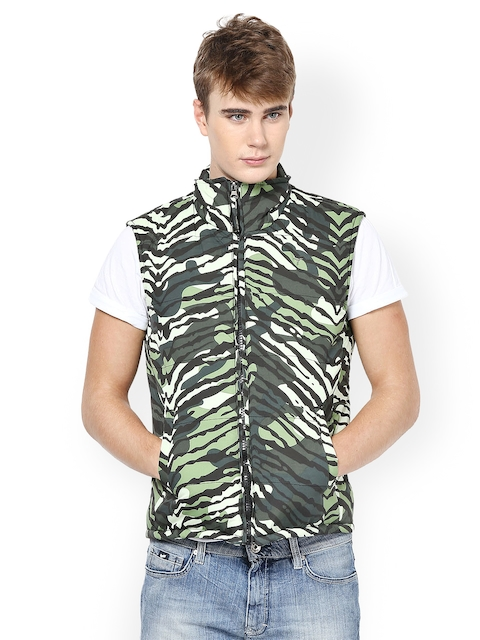 Monteil & Munero Men Green Printed Jacket  available at myntra for Rs.762