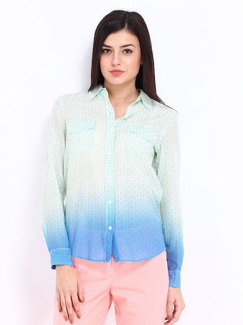 Nautica Women Green & Blue Printed Silk Blend Shirt  available at myntra for Rs.1999