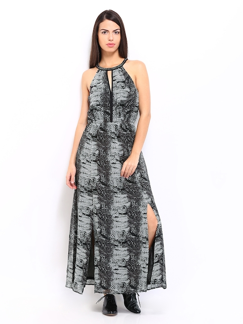ONLY Black & Grey Printed Maxi Dress
