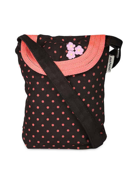 Pick Pocket Brown & Pink Printed Sling Bag  available at myntra for Rs.296