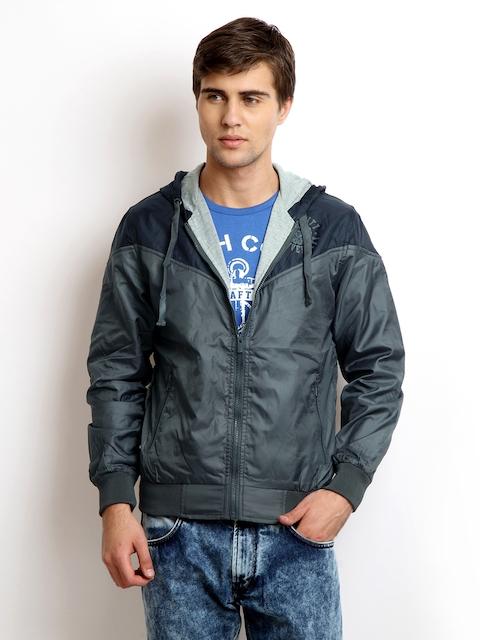 Proline Grey & Blue Hooded Varsity Colourblocked Jacket