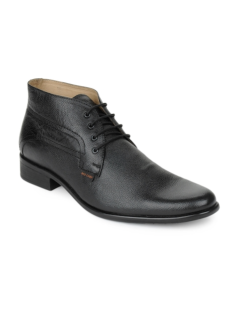 Red Chief Men Black Leather Semi-formal Shoes