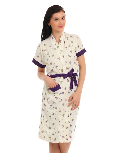 Red Rose Women Cream and Purple Bath Robes
