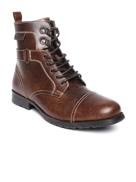 Red Tape Men Brown Leather Boots