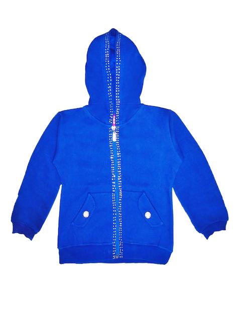 SWEET ANGEL Girls Blue Hooded Sweatshirt