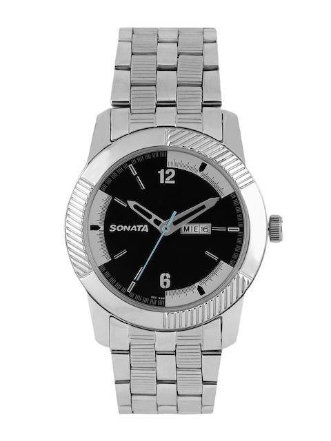 Sonata Men Black Dial Watch 7100SM02