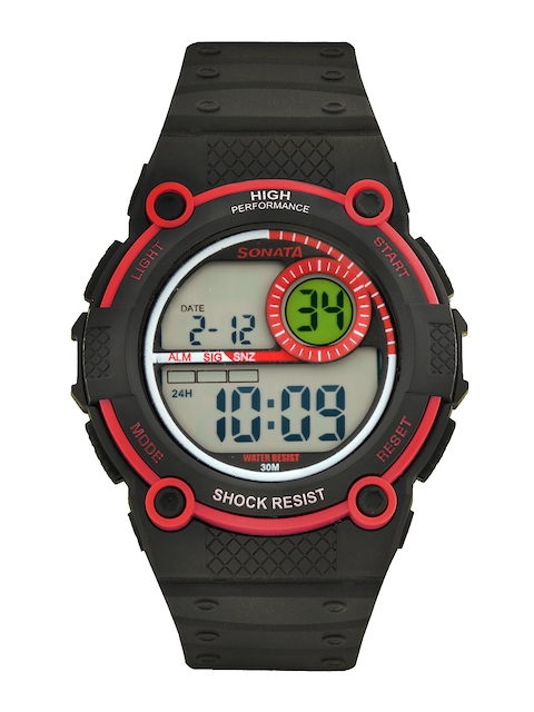 Sonata 77004PP02 Black Digital Men's Watch (77004PP02)