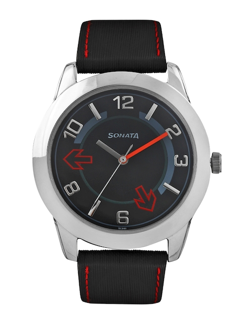 Sonata Men Black Dial Watch NC7924SL04