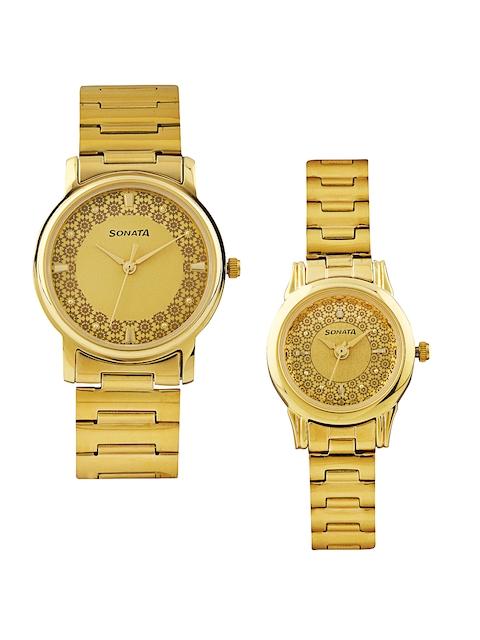 Sonata Analog Champagne Dial Couple's Watch, 10138925YM01