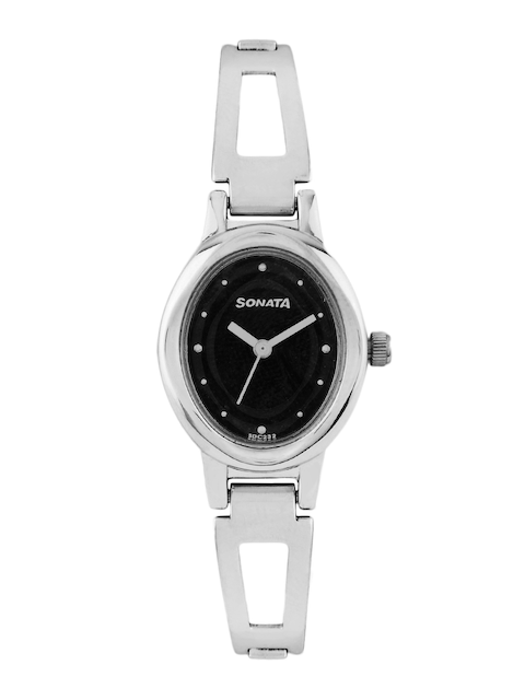 Sonata Women Black Dial Watch 8085SM01