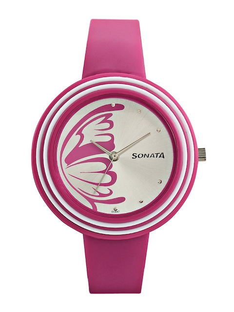 Sonata Women Silver-Toned Dial Watch 8995PP01