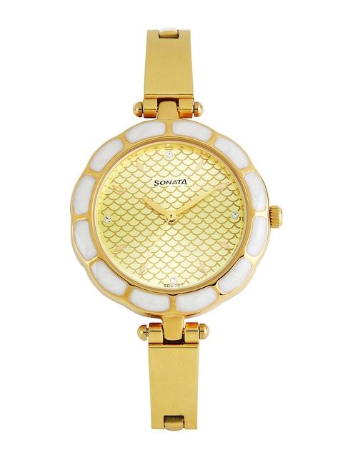Sonata Sona Sitara Women Gold-Toned Dial Watch 8120YM03