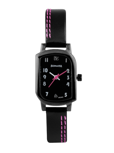 Sonata Women Black Dial Watch 87001NL01