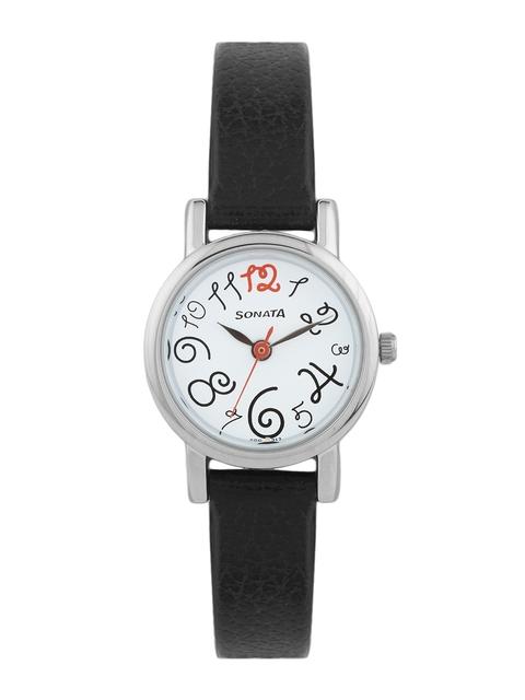 Sonata Women White Dial Watch 8976SL07J