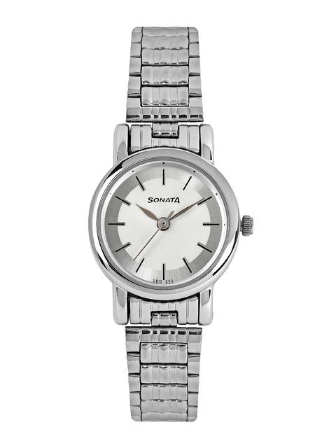 Sonata Women White Dial Watch 8976SM01J
