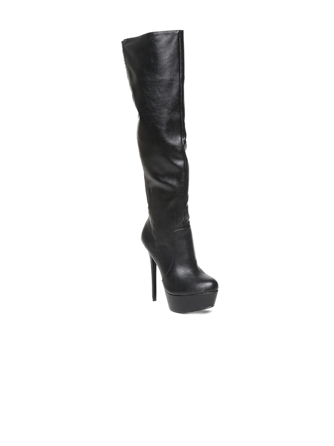 Steve Madden Women Black Leather Heeled Boots
