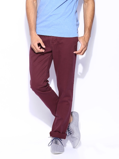 Superdry Men Burgundy Commodity Slim Chino Trousers