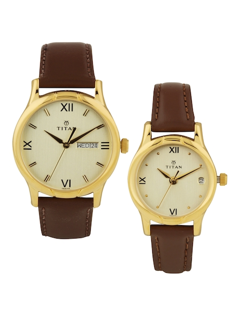 Titan Bandhan His & Her Set of 2 Muted Gold-Toned Dial Watches NE15802490YL05