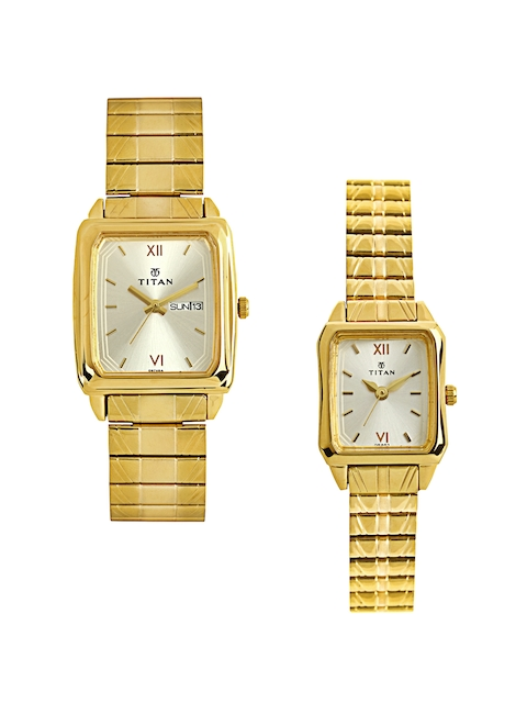 Titan Bandhan Set of 2 His & Her Silver-Toned Dial Watches NE15812488YM04