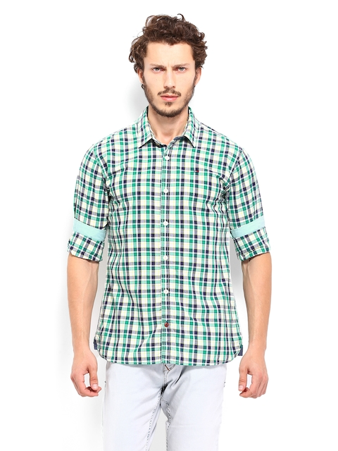 Tommy Hilfiger Men White & Green Lynden Checked Casual Shirt