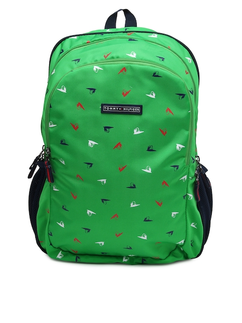 Tommy Hilfiger Unisex Green & Navy Printed Backpack